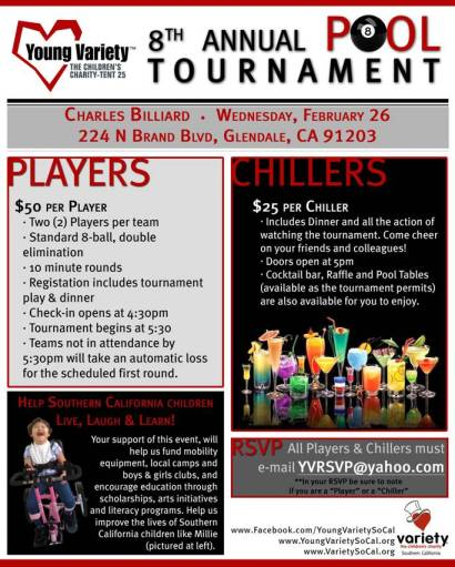 Terrell returns for the 8th Annual Young Variety Pool Tournament FUNDRAISER…